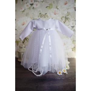 Sukienka do chrztu Sonia - groszki - z długim rękawem