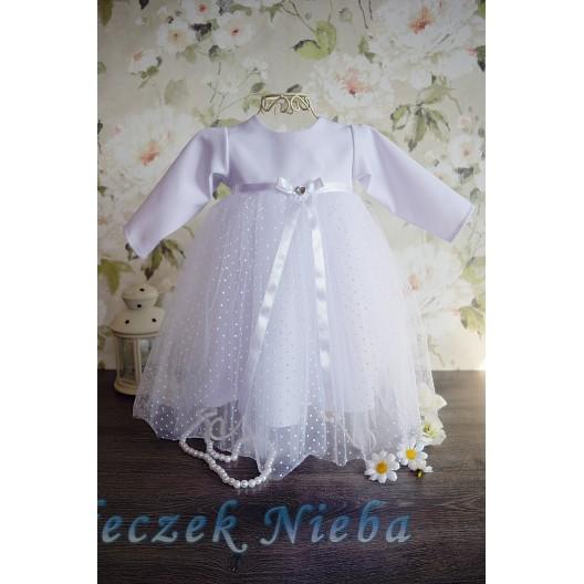 Sukienka do chrztu Sonia groszki z długim rękawem