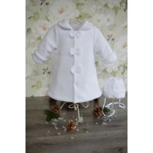 Płaszczyk do chrztu Zosia + czapeczka - biały