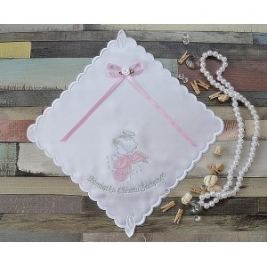 Szatka do chrztu Aniołek różowo-srebrny z kokardką