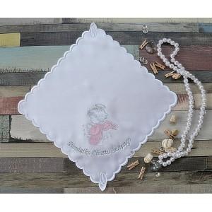 Szatka do chrztu Aniołek różowo-srebrny