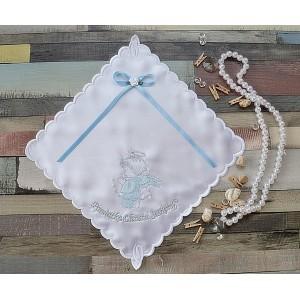 Szatka do chrztu Aniołek niebiesko-srebrny z kokardą