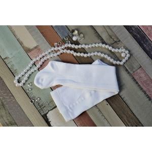 Rajstopy bawełniane, gładkie do chrztu - białe