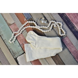 Rajstopy bawełniane, gładkie do chrztu - ecru