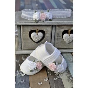 BUCIKI + OPASKA komplet do chrztu Baletki lniane z kwiatami + opaska Kwiaty