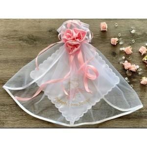 Różany Aniołek - Zestaw chrzczonka z szatką do chrztu