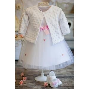 Komplet do chrztu Nala / Minky biały - Sukienka + Bolerko Minky
