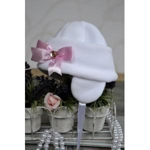 """Czapeczka polarowa """"Nala"""" biała z różową kokardą"""