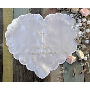 Szatka do chrztu - Serce białe