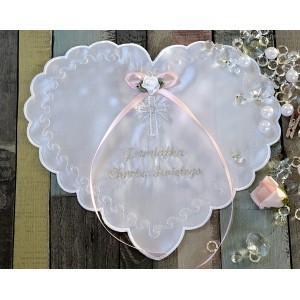 Szatka do chrztu - Serce różowa kokarda
