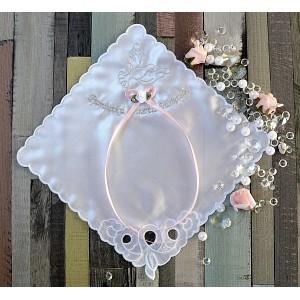Szatka do chrztu chusteczka z różową kokardką