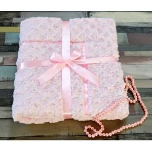 Kocyk do chrztu różowy z lamówką