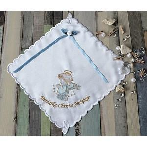 Szatka do chrztu Aniołek niebieski z kokardą
