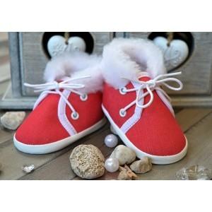 Buciki kolorowe Trampeczki zimowe czerwone