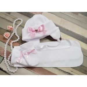 Komplet do chrztu Nala - 3 częściowy: czapka, szalik, rękawiczki
